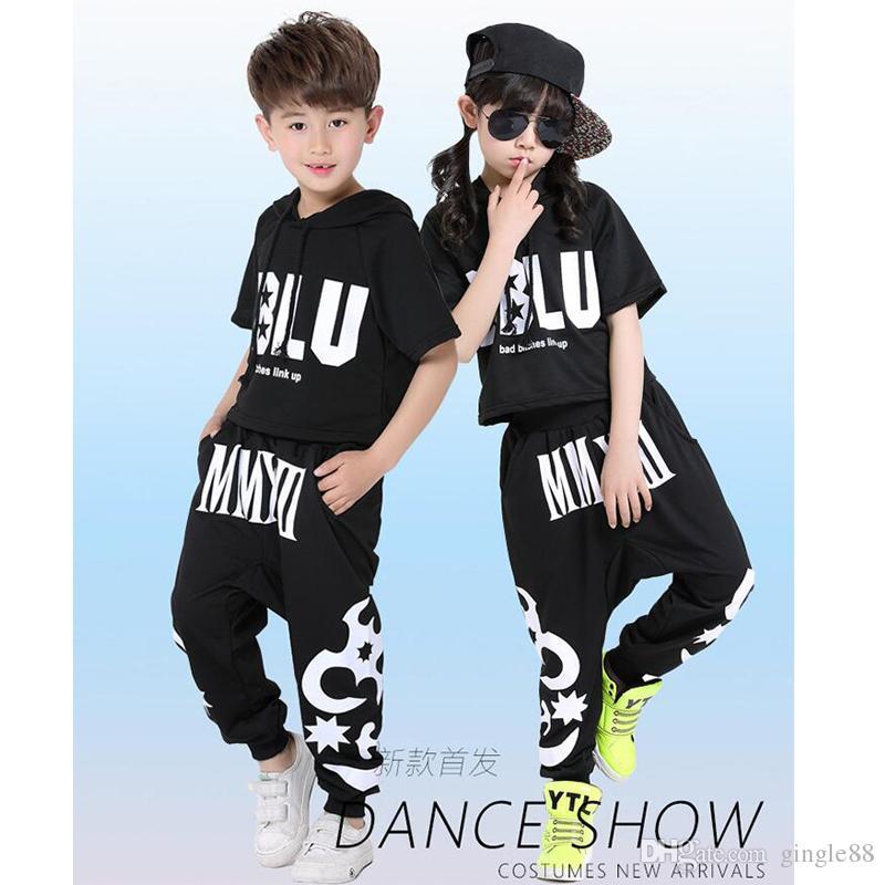 b7f7a30f434e Black Kids Jazz Hip Hop Dance Costumes Children S Clothing Set ...