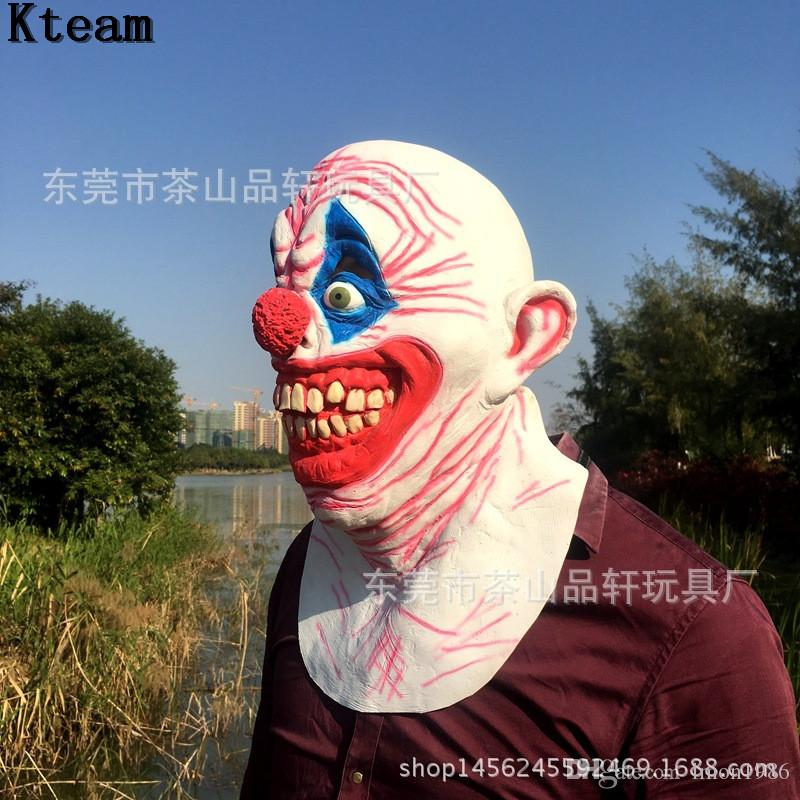 The Dark Knight Scary Clown Mask Big Mouth Red Hair Nose Cosplay Full Face Horror Masquerade Adult Ghost Party Mask for Halloween Props