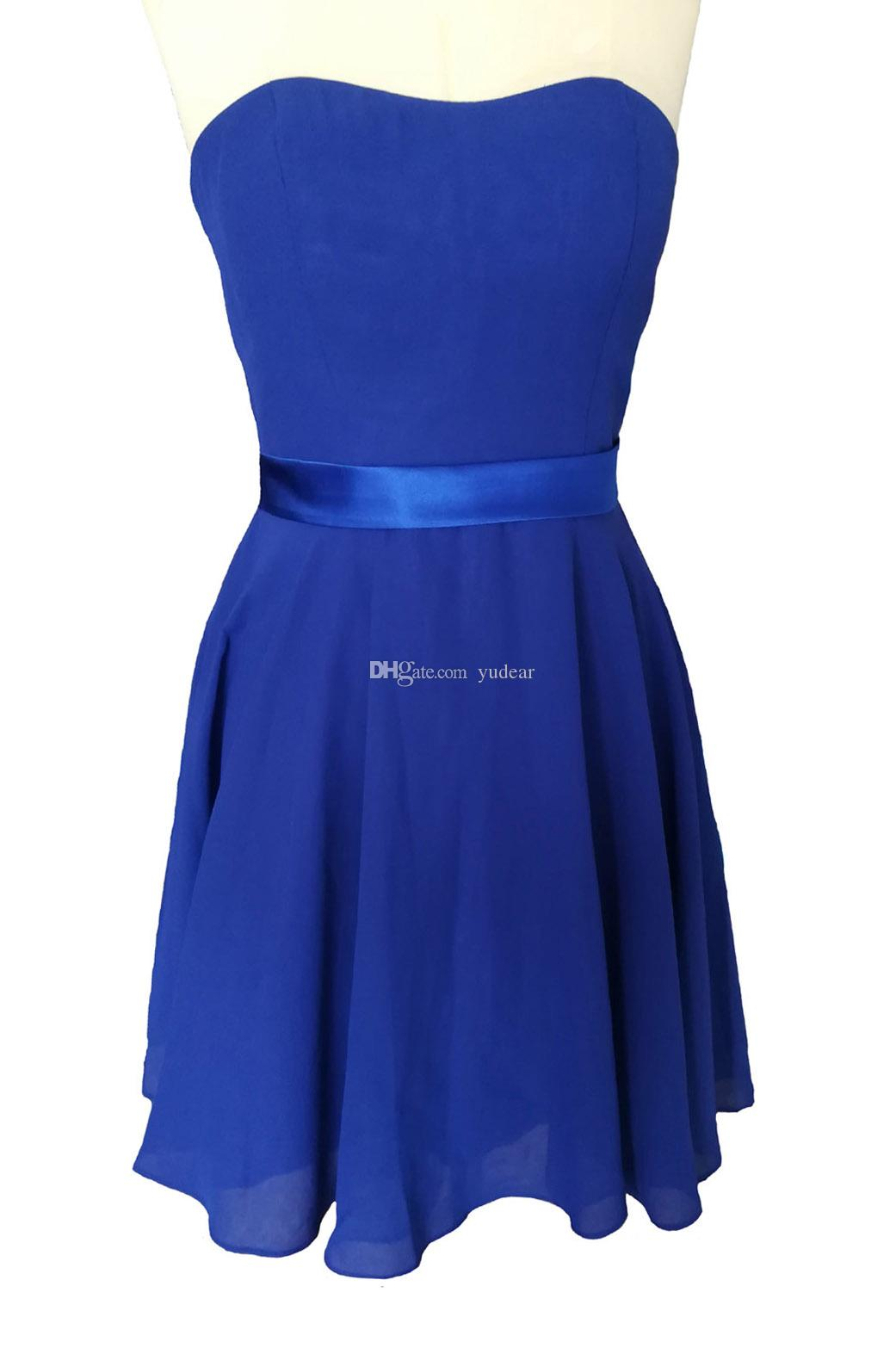 2019 Cheapest Royal Strapless Women Homecoming Dresses A-line Short Mini Cocktail Dresses Flowy Chiffon Backless Drawstring Prom Party Gowns