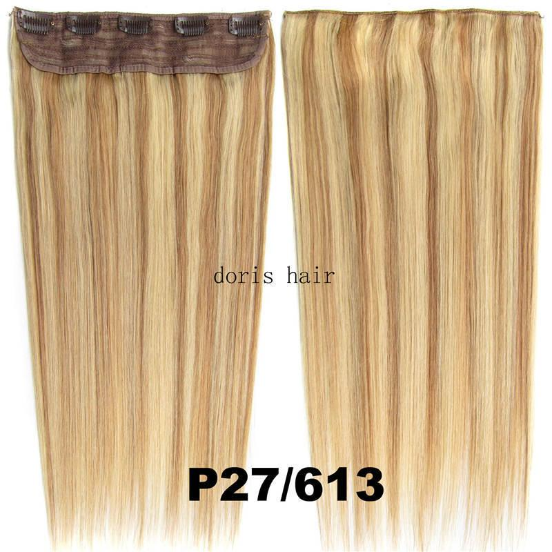 Top Grade Remy Clip in Human Hair Extensions silky straight 105g for full head blond black brown color