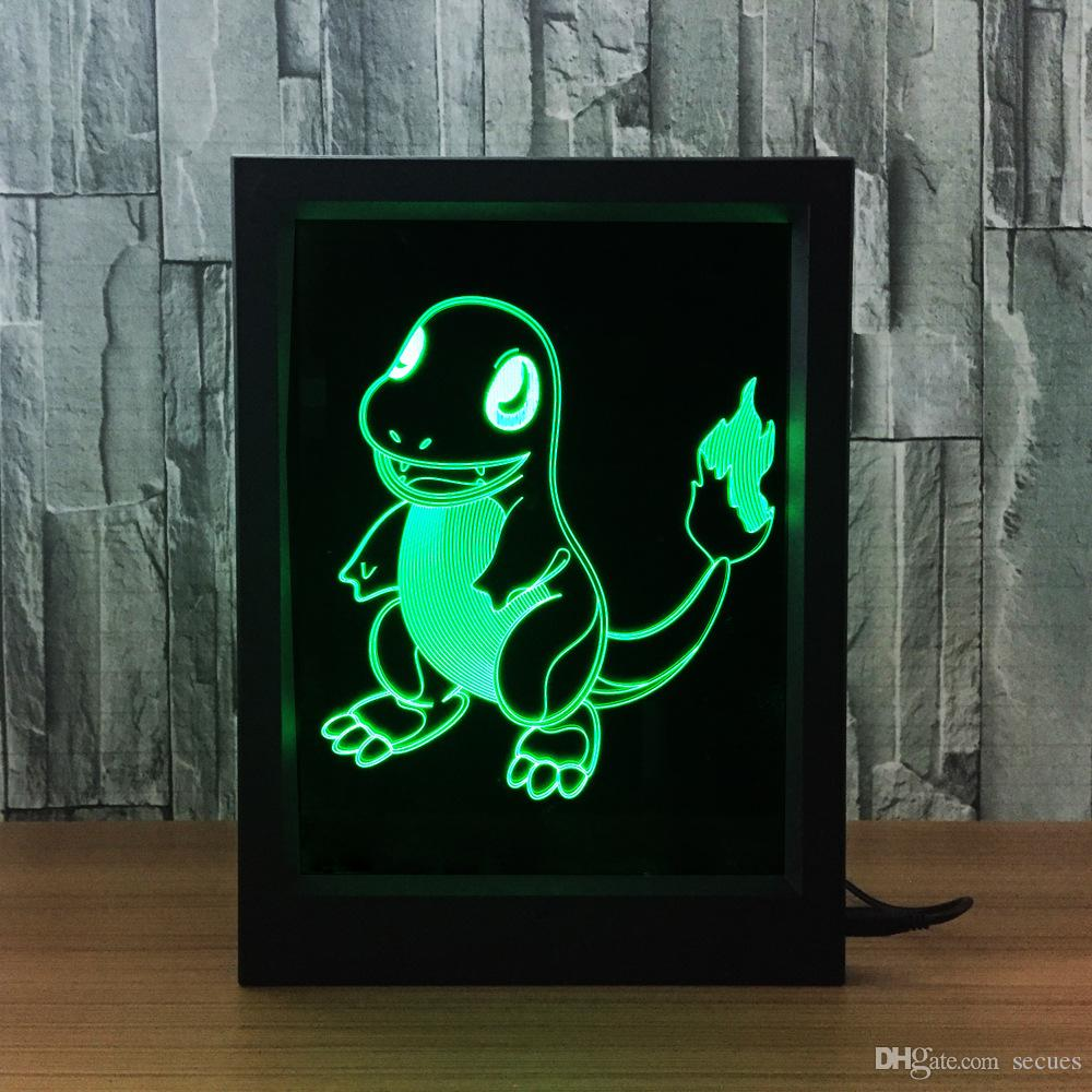 3D Charmander LED Photo Frame IR Remote 7 RGB Lights Battery or DC 5V Factory Wholesale Dropship