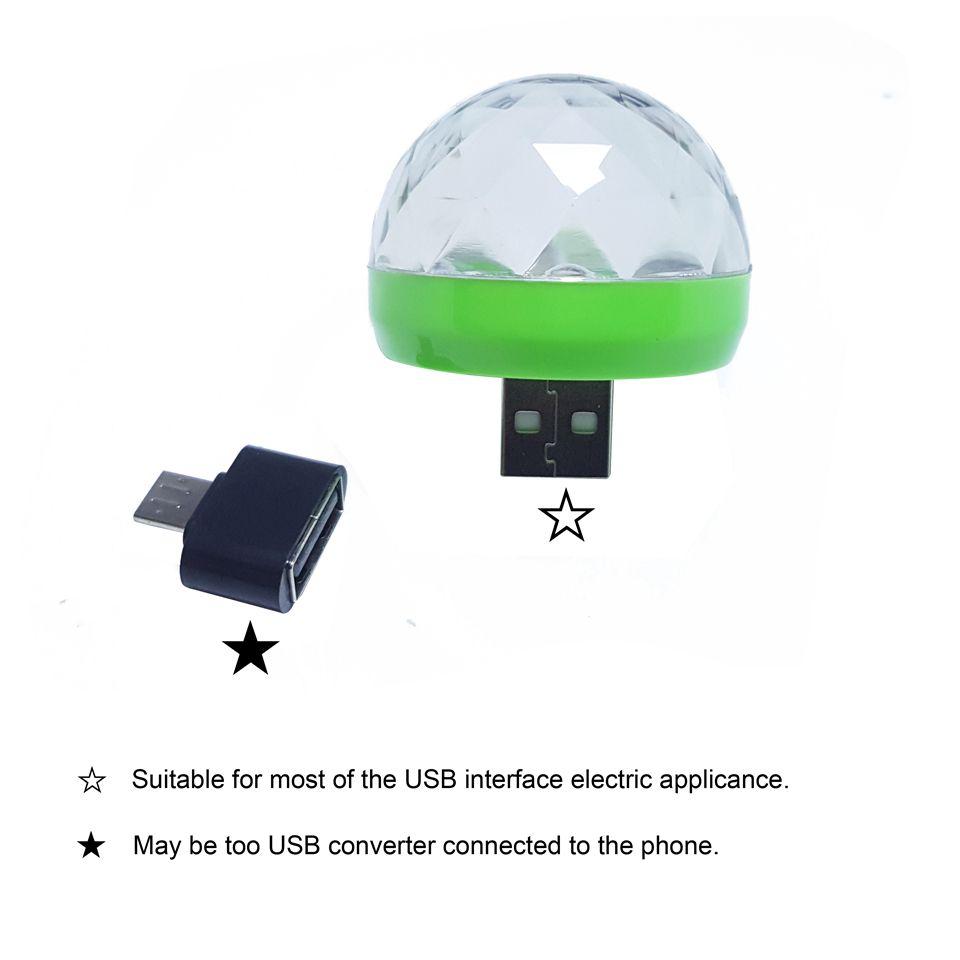 Mini RGB LED lumière USB Power LED Ampoule lampe 3W DC 5V Musique Sound Control Stage lumière KTV Disco Party Decor Microphone éclairage