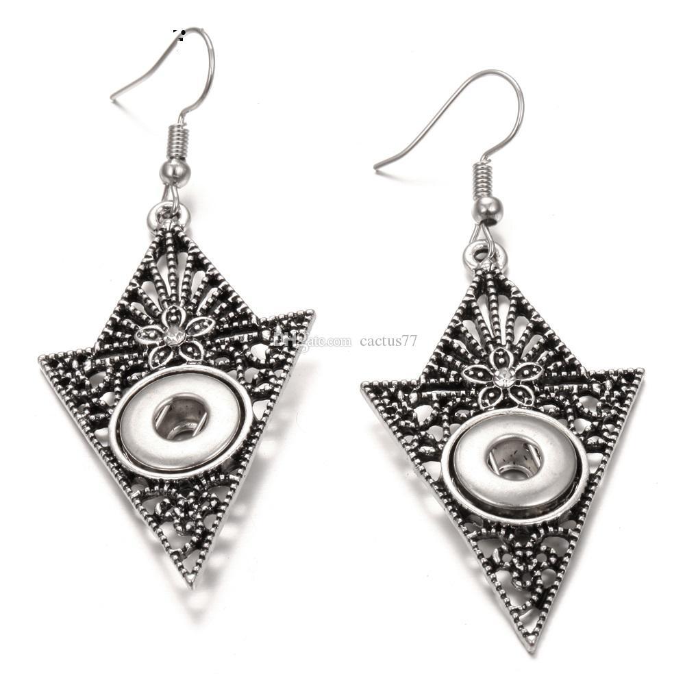 9 Arten Noosa Brocken Ingwer Snap Ohrringe Schmuck Vintage Aushöhlen Geometrische 12mm Druckknopf Charme Ohrringe für Frauen Geschenk