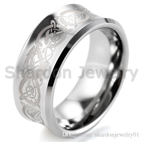 df037c5d9955f SHARDON unique tungsten wedding rings Mens Groove With Celtic Dragon  Pattern Laser Engraving Mens Wedding Band