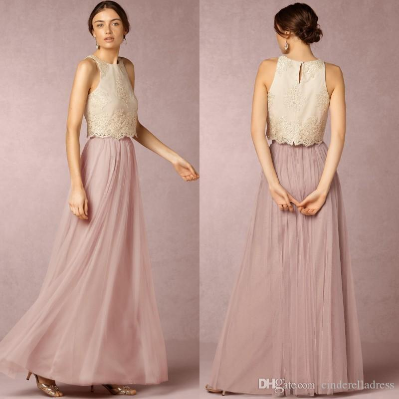 New Two Pieces Bridesmaid Dresses Jewel Neck Soft Mesh A Line Pleats ...