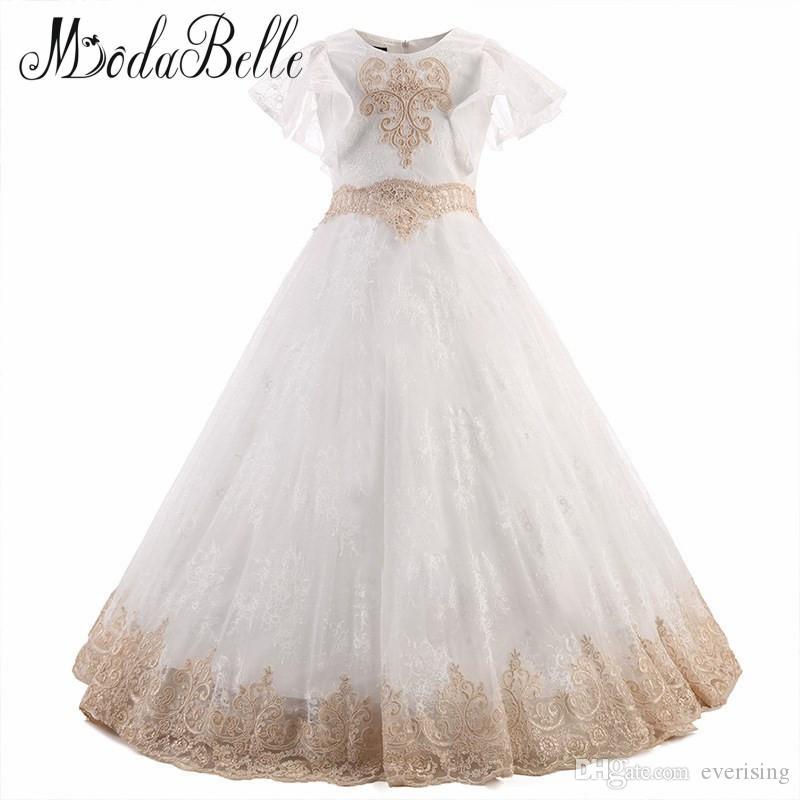 Modabelle dantel çiçek kız elbise şampanya çocuklar mezuniyet elbiseleri çocuklar için balo parti elbiseler kızlar pageant elbise