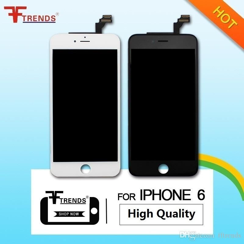 High Quality for iPhone 6 Screen Replacement LCD Display Touch Digitizer Full Assembly Black White Cold Frame Press 100% Tested
