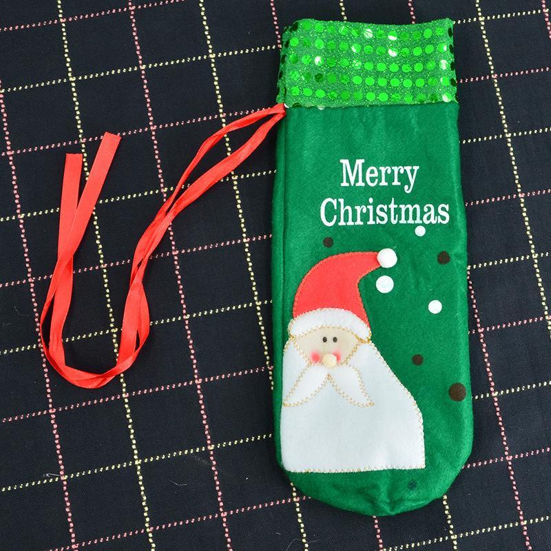 Bouteille De Vin De Noël Couvre Sacs De Vin Rouge Décoration Santa Bonhomme De Neige Style Avec Rouge Jolie Cravate Cadeau Fête Meilleur Cadeau pour Bar De Noël