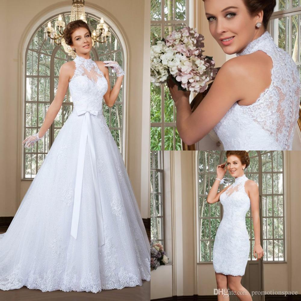 Discount 2016 cheap elegant a line high neck wedding dress discount 2016 cheap elegant a line high neck wedding dress detachable skirt wedding dresses sweep train beach bridal gowns vestido de noiva lace bridal ombrellifo Choice Image
