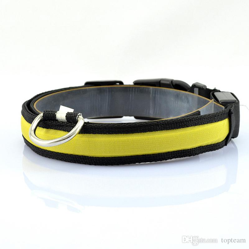 LED 나일론 애완 동물 강아지 칼라 밤 안전 LED 빛 깜박이 어둠 속에서 빛 작은 개 애완 동물 가죽 끈 개 칼라 깜박이 안전 고리