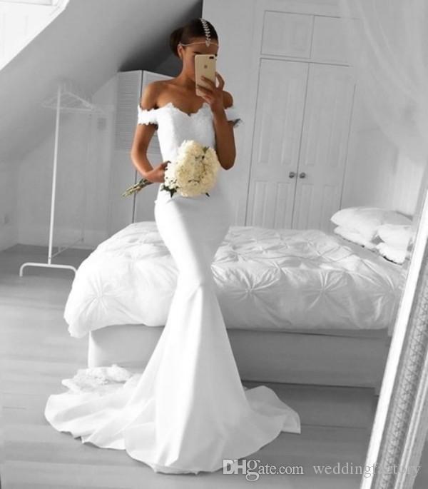 놀라운 인어 신부 들러리 드레스 긴 공식 웨딩 게스트 드레스 레이스 탑 깎아 지른 기차 사용자 정의가 저렴하게 만들어졌습니다.