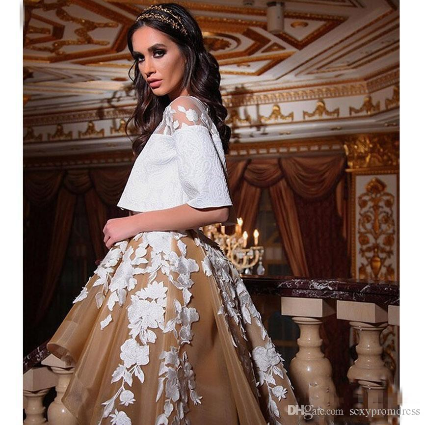 Arabic White And Champagne Prom Dresses 2017 Two Pieces Short Sleeve White Lace Applique Evening Gowns Organza High Low Vestidos De Novia