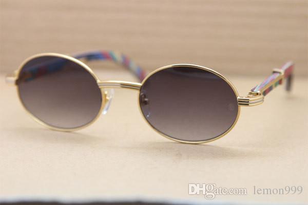 Marca Natural de madera de pavo real gafas de sol para hombres mujeres Retro gafas de sol redondas gafas de sol de marco grande 57mm con estuche original 7550178