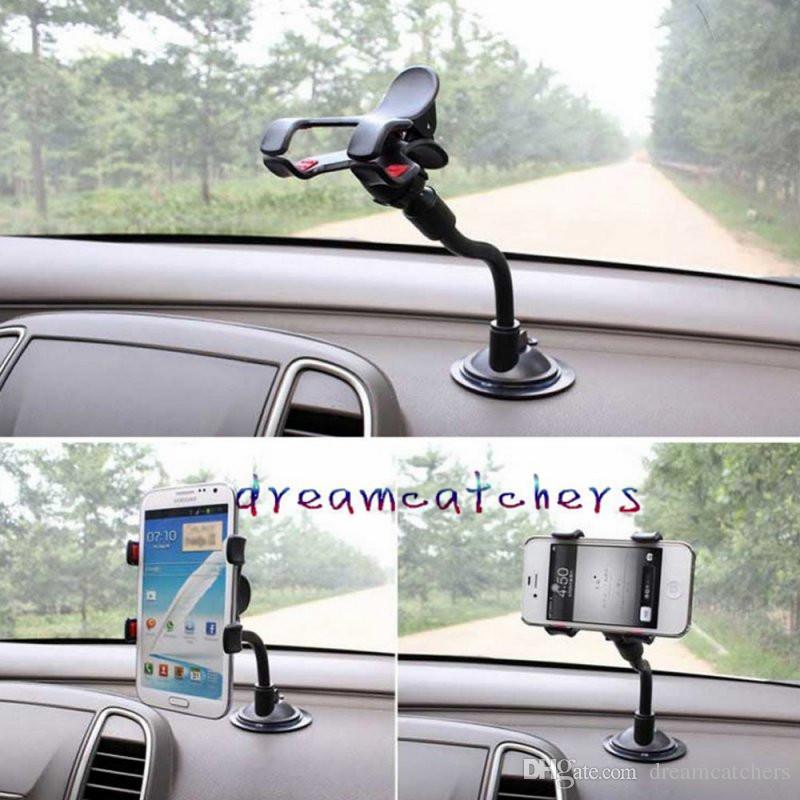 Soporte de montaje del coche de la ventosa del parabrisas Soporte de rotación universal de 360 grados Soporte del soporte Swivei para el iphone 7 Samsung S7 LG HTC Blackberry