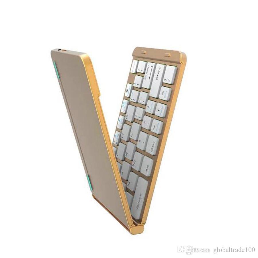 Mais novo Ultra Fino De Alumínio F88 Duas Dobras de Metal Dobrável teclado Sem Fio Bluetooth Para Apple iPad IOS Android Sistema Do Windows