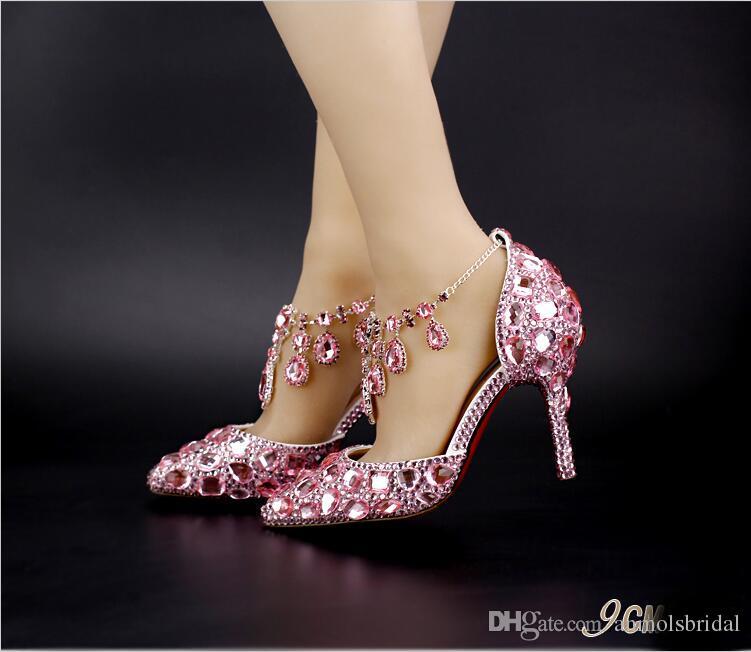 Rot / Rosa / Silber Spitzen Zehen Sandalen mit Kristall Fußkettchen Braut Brautjungfer Hochzeit Schuhe 2017 Prom Abend Nachtclub Party 9 cm Heels