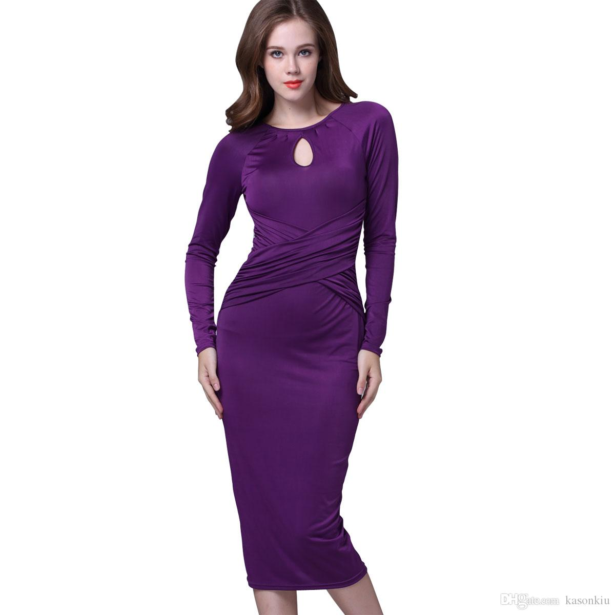 9912ca47018 Black Blue Purple Midi Bodycon Sexy Women Retro Bandage Party Pencil Dress  Long Sleeve Cross Fold Fashion Vintage Vestidos Dress Long Dress Club  Dresses ...