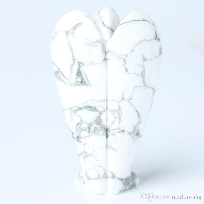 HJT Wholesale 3.15 inch natural crystal white turqoise angel Figurine healing aura little angel reiki sculpture Chrismas GIFT