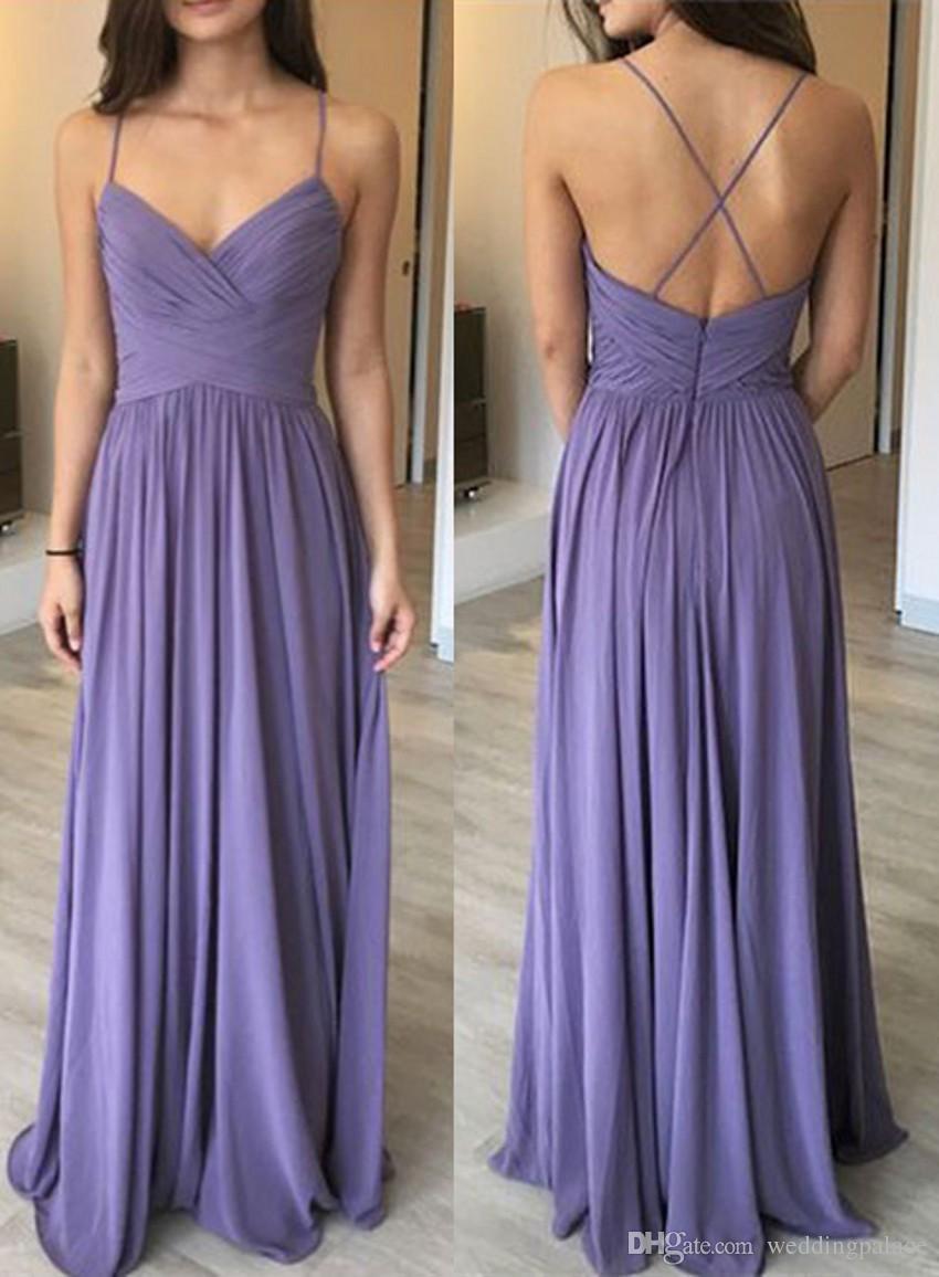 Simple V Neck Chiffon Long Evening Dresses Prom Dresses Pleats Floor ...