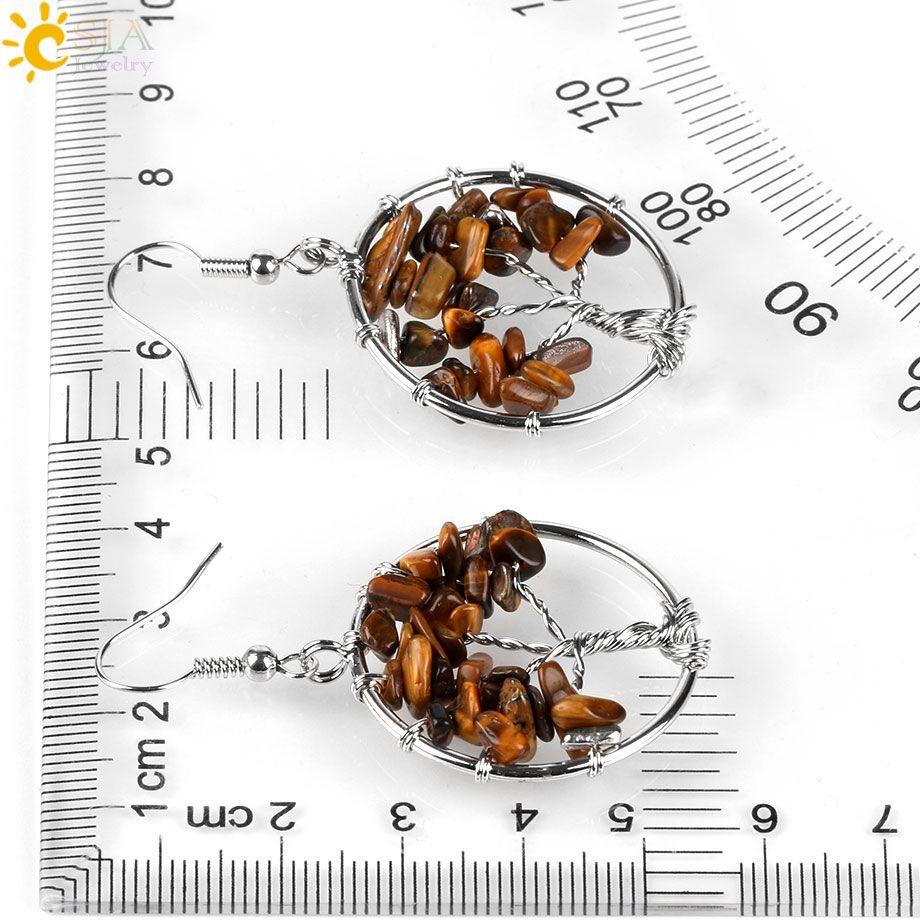 CSJA 7 чакры Древо Жизни подвески кулон серьги рыболовный крючок люстра мотаться серьги настоящий драгоценный камень бисера Аквамарин ювелирные изделия E514