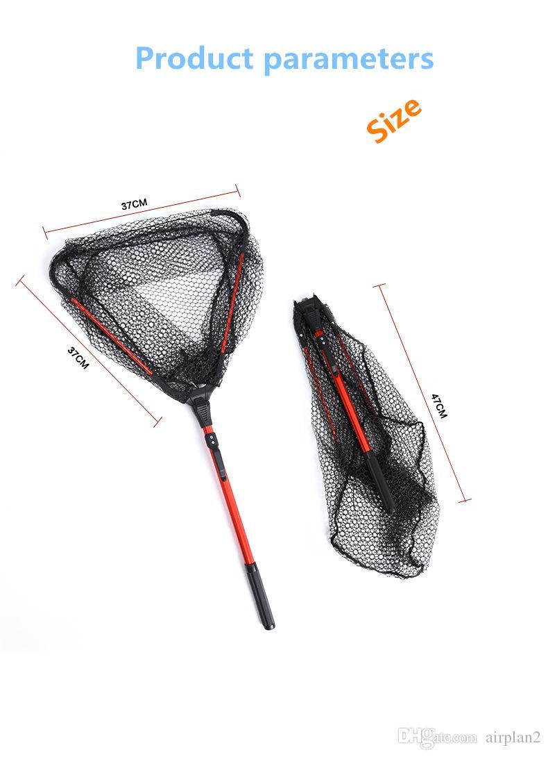 All'ingrosso pieghevole pesca a mano in lega di alluminio maniglia in lega di alluminio gel di silice 37cm * 37 cm larghezza 80 cm lungo piccola rete fly pesca reti da pesca 1606220