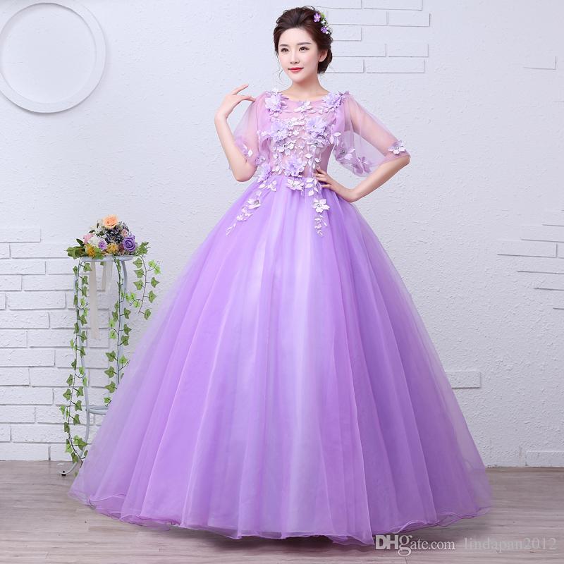 Compre Velnosa Púrpura Princesa Organza Nuevas Muchachas Del Verano ...