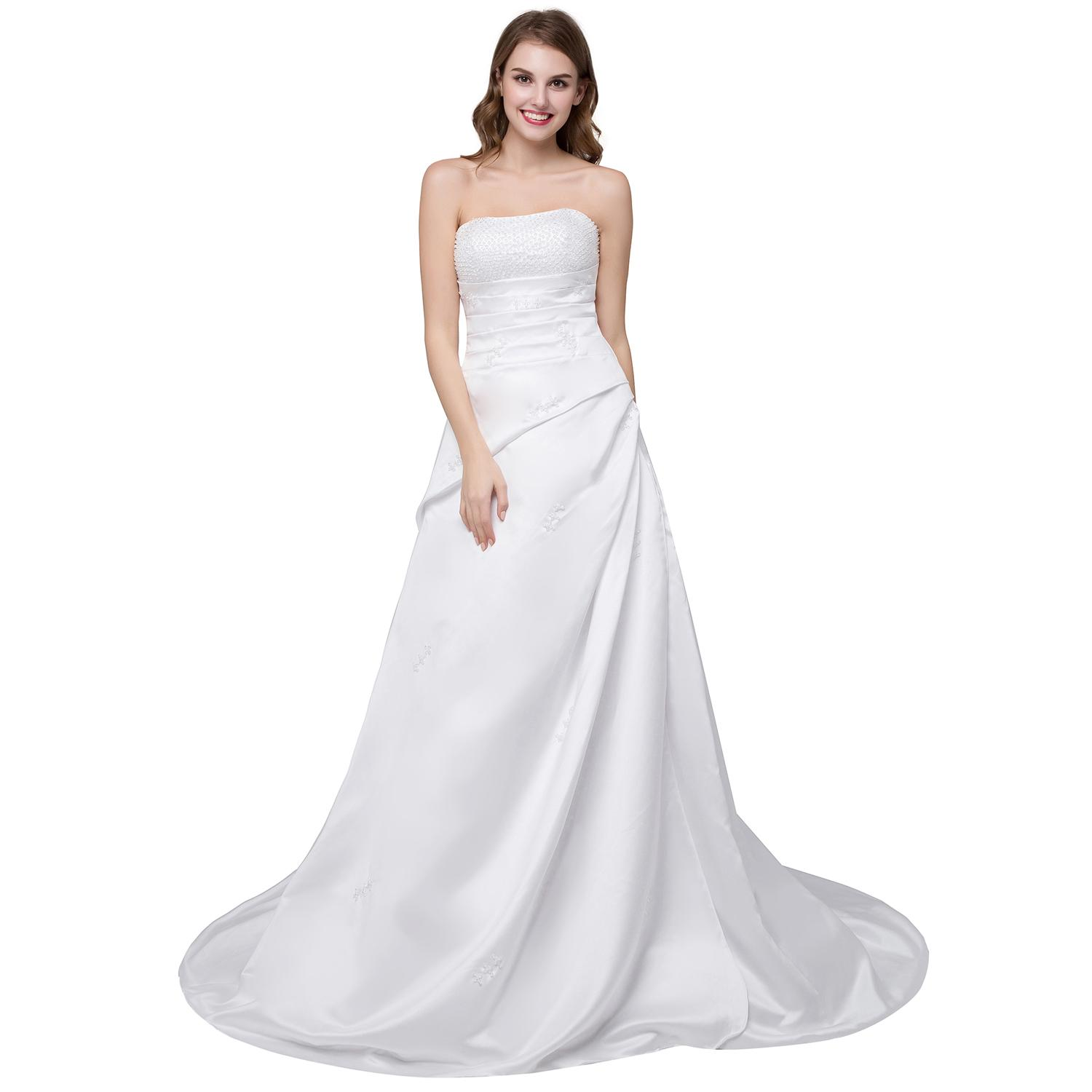 Discount Stock Hot Sale White Wedding Dresses Strapless