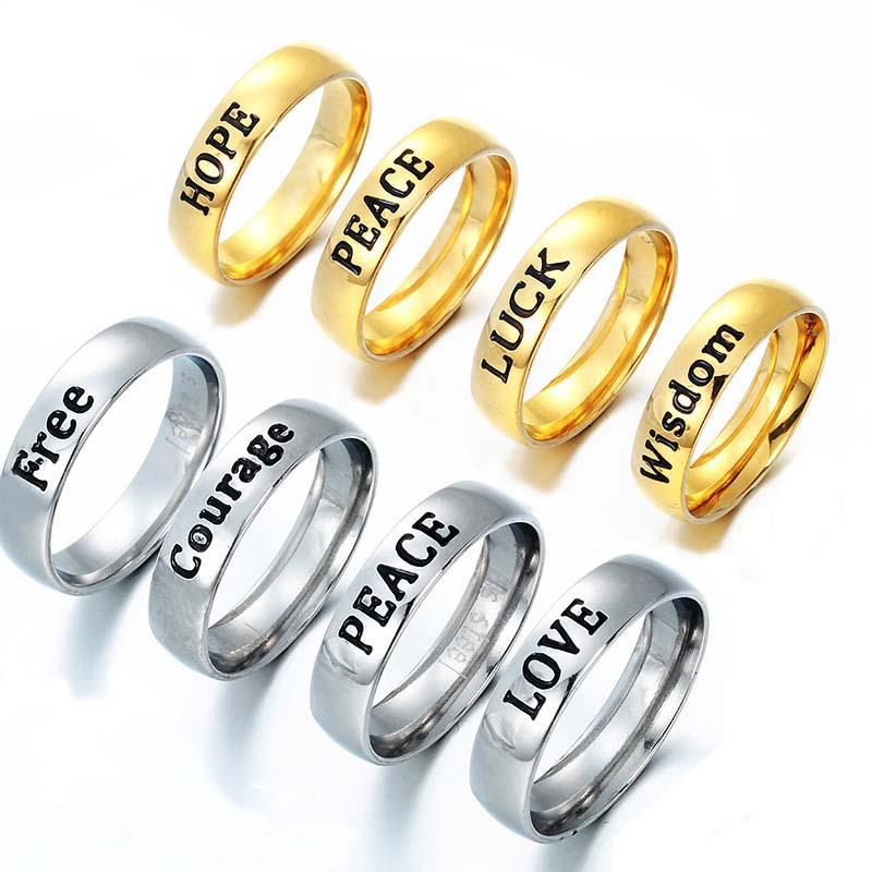 luxury for rings item ring steel wedding english titanium gold words models female finger index women