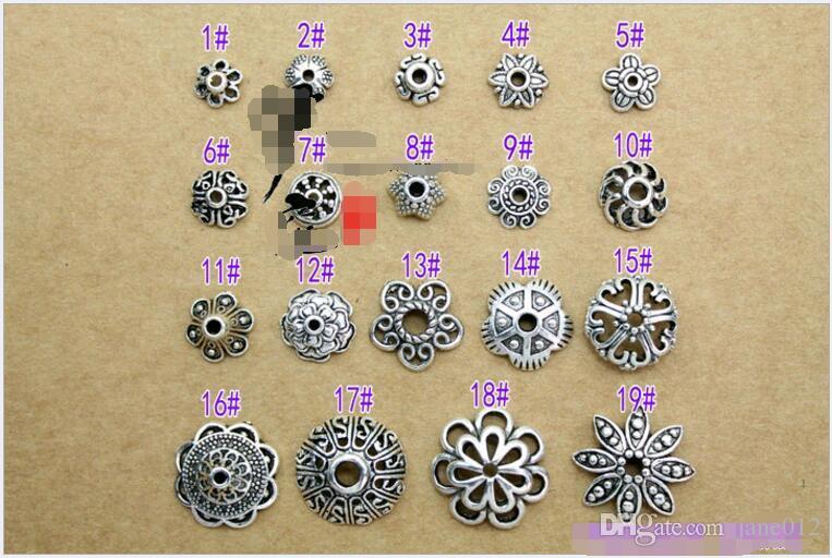 Atacado DIY Acessórios de Jóias de Prata tibetana Liga Do Vintage Flor Bead Cap Pedal Flor Suporte Encantos de Prata Antigo para Pulseiras