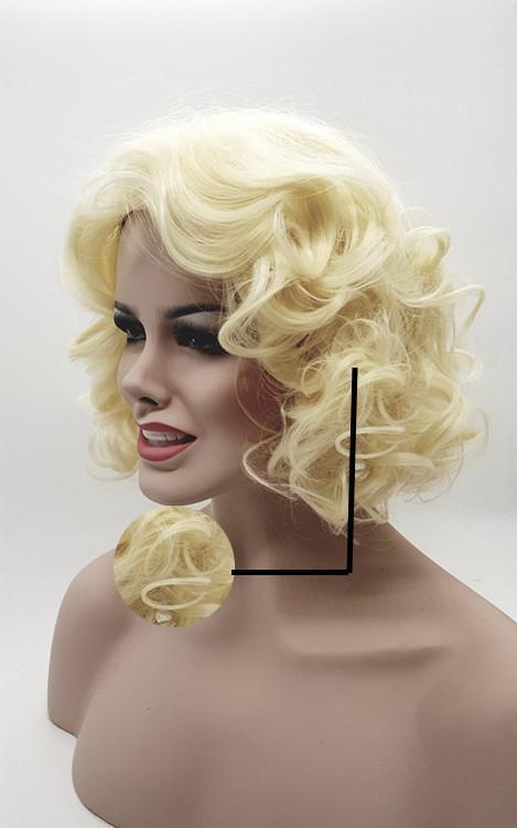 XT1028 The Golden Fluffy Grande onda di fibre naturali pure sintetizzate dalla parrucca popolare europea delle donne