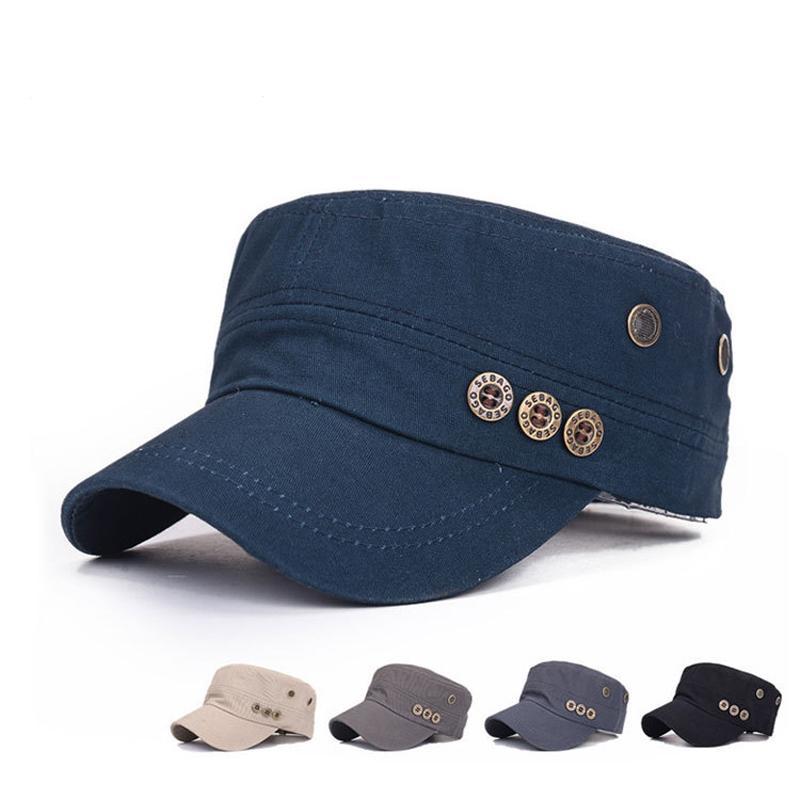 Men Women Flatcap Spring Fashion Buttons Cotton Hat Peaked Cap Adjustable  Snapback Baseball Cap Solid Color Army Cap Womens Baseball Hats Cheap  Snapback ... 16357b89581
