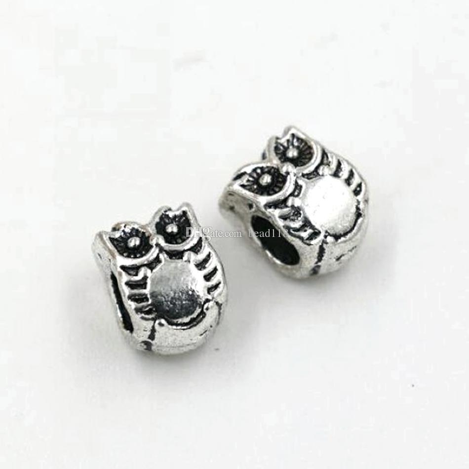 Hot ! Antique Silver Zinc Alloy Owl Large Hole Spacer Bead Fit European Beads Bracelet 7.8x10mm