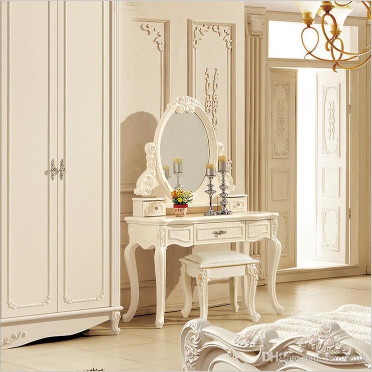 prezzo di fabbrica RoyalEuropean specchio tavolo moderno comò camera da  letto francese mobili bianco francese toletta pfy10046