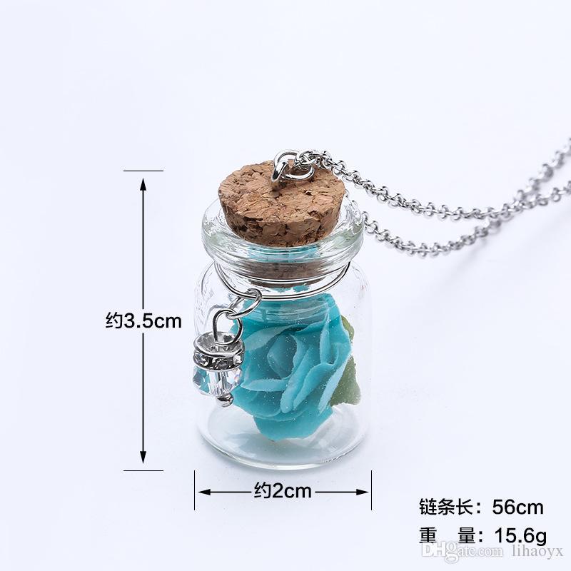 Europa e nos Estados Unidos praia rosy rose moda drift garrafa pingentes lanternas frasco de vidro colar de jóias das mulheres J001