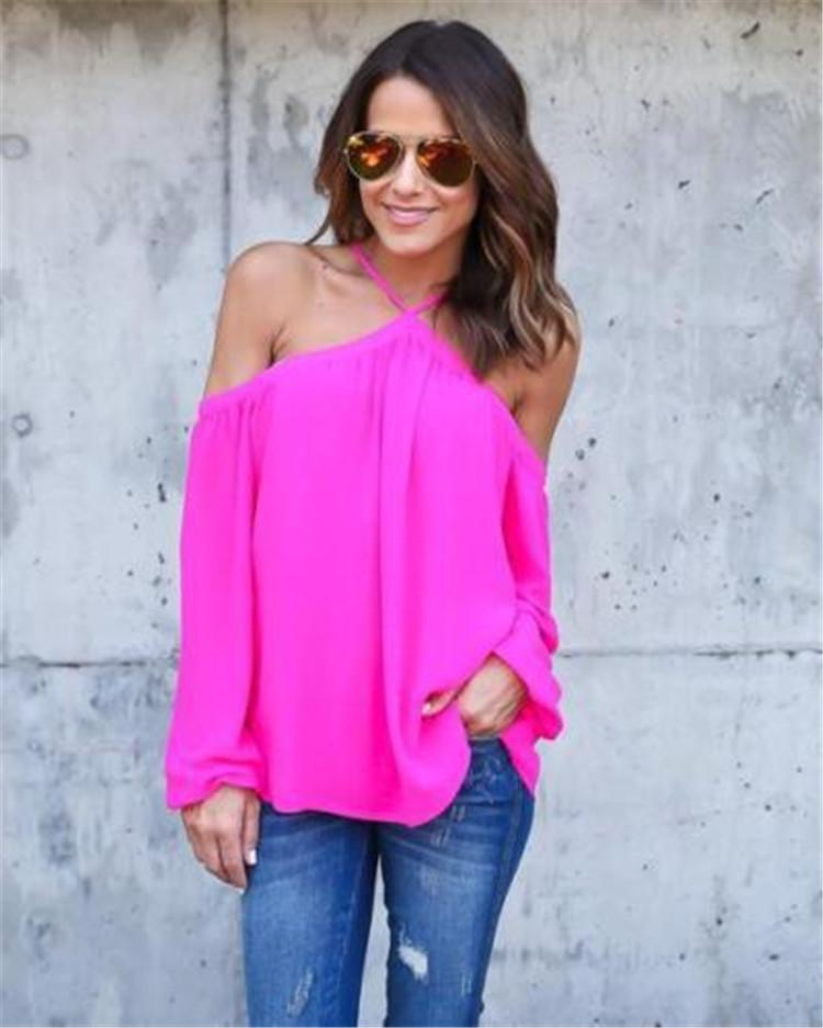2017 nova moda feminina senhora casual outono doce cor longo-luva chiffon sexy halter off camisa ombro blusas blusa tops