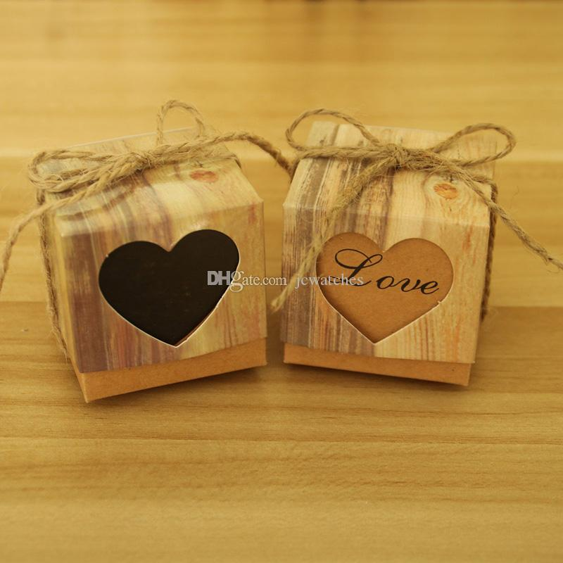 Vintage Paper Heart Love Rustic Sweet Laser Cut Candy Gift Boxes Wedding Party Favours