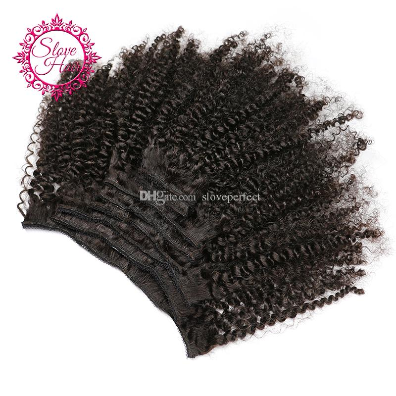 """Slove Hair Afro Kinky Curly Clip In Human Hair Extensions Remy Brazilian Hair Weave Bundles 120G/Bundle 10-24"""" Easy to Take Care"""