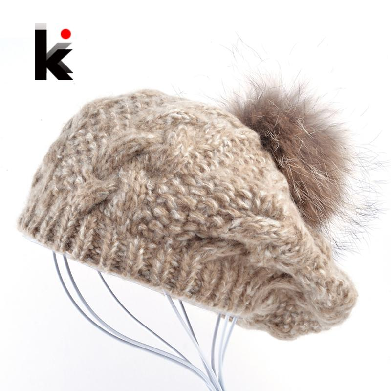 20f51f856 Wholesale-2016 Winter Raccoon fur pompom beret ladies knit wool hat  hand-knitted cap female berets hats for women boina feminina Gorras