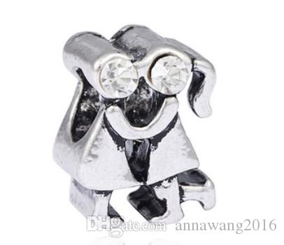 Wholesale Fit Charm Sterling Silver Boy and Girl Kiss European Charms Bead Fit Bracelets Snake Chain Fashion DIY Jewelry 124