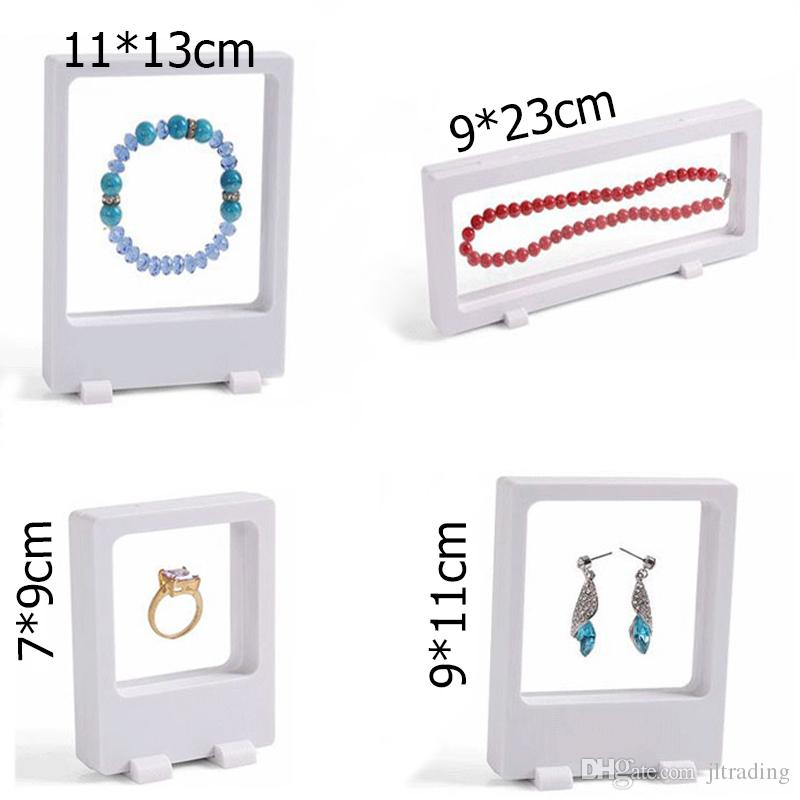 Brand Factory Supply PET Transparent Membrane Jewelry Display Stand Holder Packaging Box Protect Jewellery Floating Presentation Case