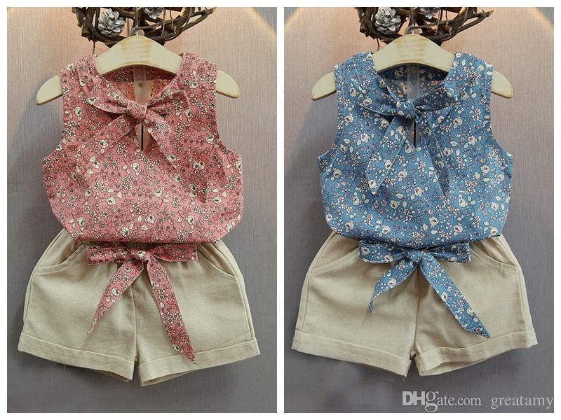 Summer Baby Girls Ustawia Kwiatowy Drukowane Bez Rękawów Bow Surchenders T-Surts Topy + Solid Color Shorts 2szt Garnitury Odzież dziecięca Darmowa Wysyłka