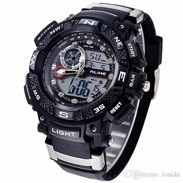 Uhren Mann Uhr 2017 Sanda Sport Uhr Digitale Stoßfest Stoppuhr Armbanduhren Outdoor Military Led Hodinky Relogio Masculino