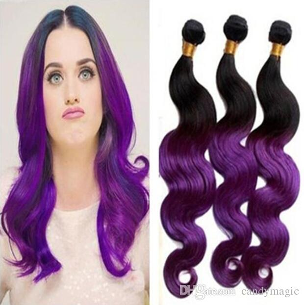 Hot Ombre Purple Hair Extensions 1b Purple Body Wave Human Hair Two