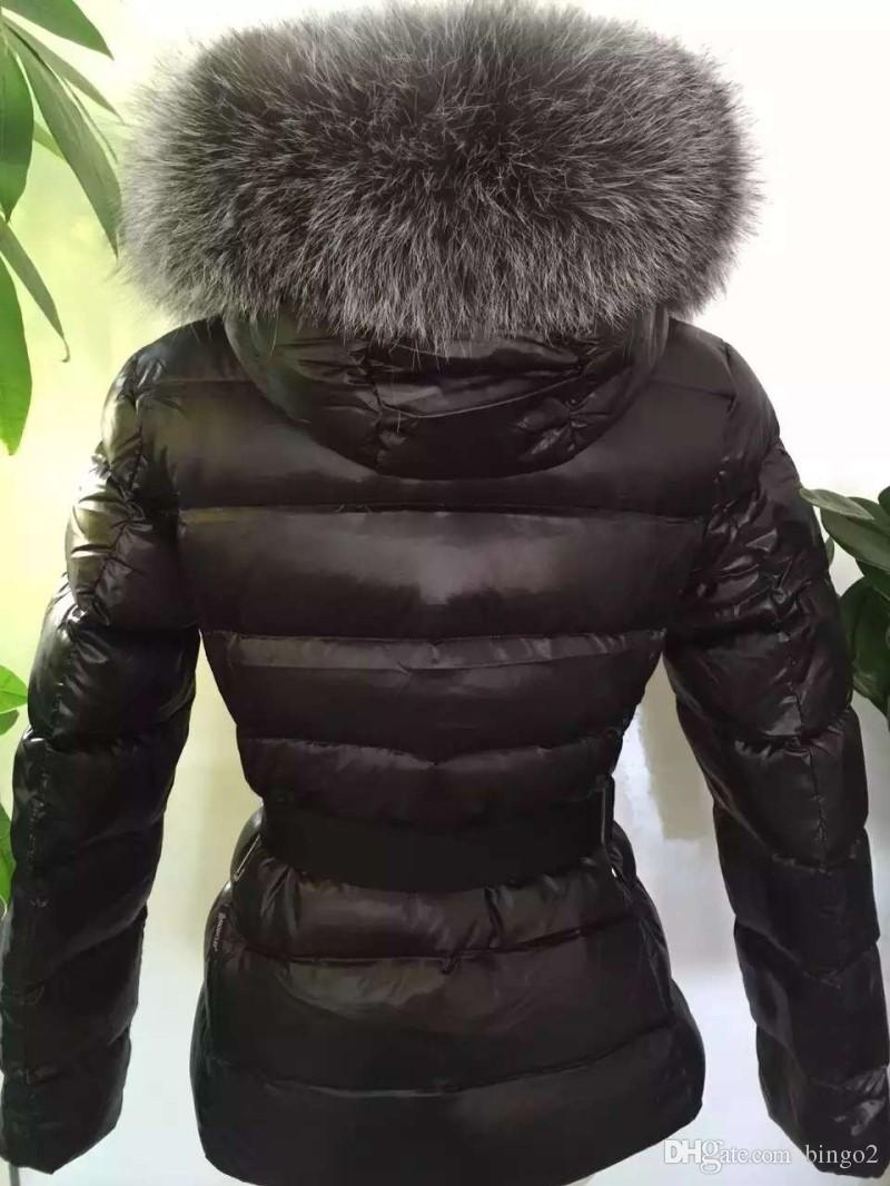 Mulheres de inverno Quente Real De Pele De Guaxinim Para Baixo Mulheres Jaqueta Curto Raposa De Prata Com Capuz Casaco Quente Para Baixo Casaco de Inverno
