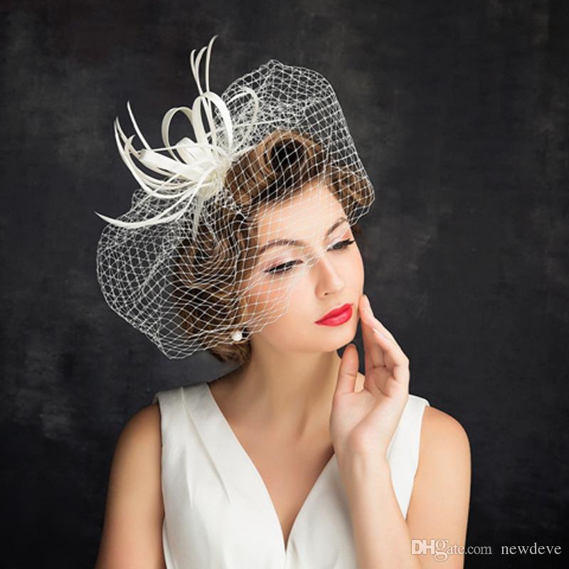 En Stock Nouveau Mode 15 cm Magnifique Headpieces Brides Visage Bandeaux Couverts Accessoires De Mariée Pour Photoshoot