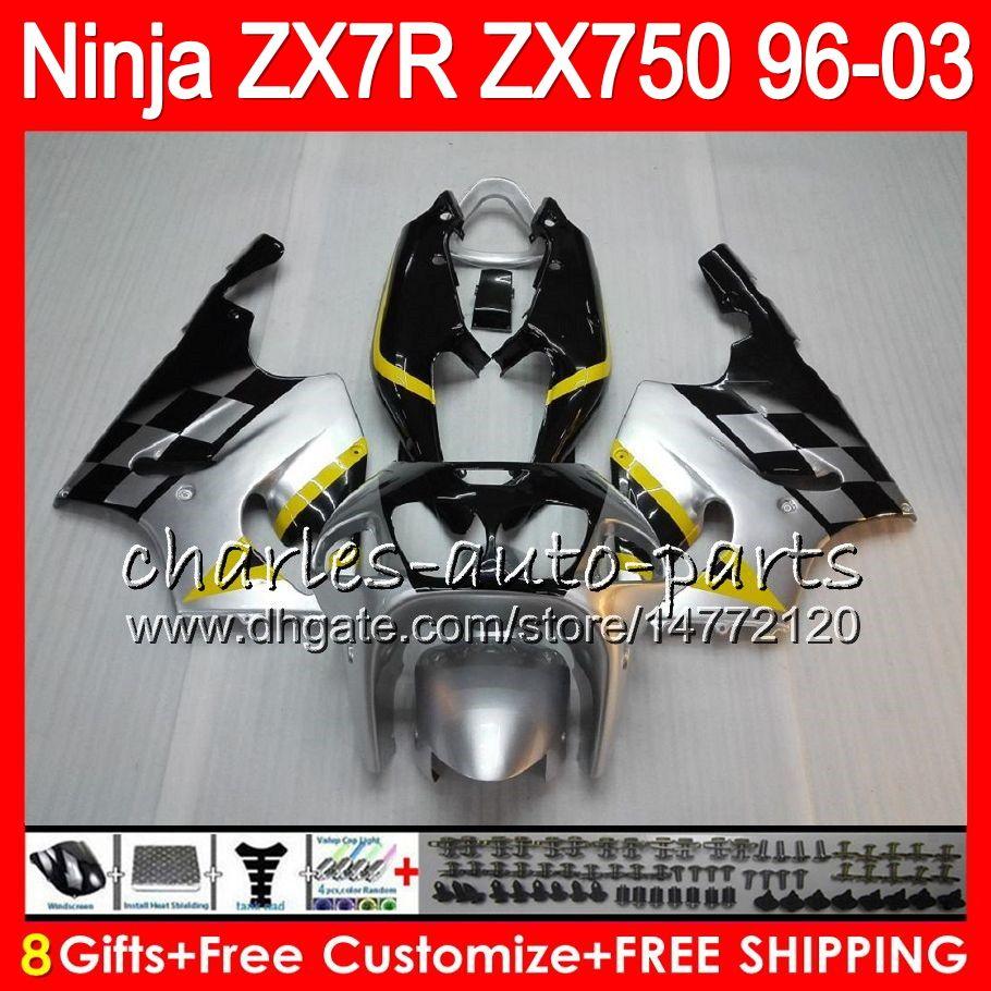 8Gifts For KAWASAKI NINJA ZX7R 96 97 98 99 00 01 02 03 18NO57 Silver black ZX750 ZX 7R ZX-7R 1996 1997 1998 2001 2002 2003 Fairing