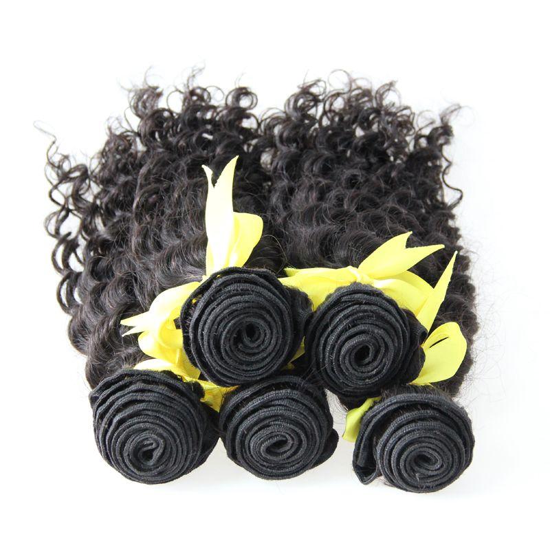 Глубокая волна бразильские волосы бразильские волосы плетение пучки ткачество естественный цвет 5 шт человеческих волос ткать