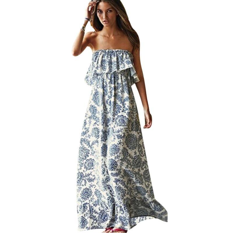 8eddc8f0a8 Compre Al Por Mayor Sexy Off Shoulder Long Maxi XL Dress Mujeres BOHO  Evening Beach Sundress A  26.54 Del Avive