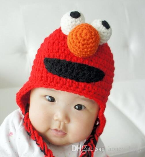 9ba330aedb2 2019 Sesame Street ELMO Baby Girls Boys Cartoon Animal Knitted Hats Newborn  Infant Toddler Halloween Christmas Hat Winter Children Beanie Cotton From  ...