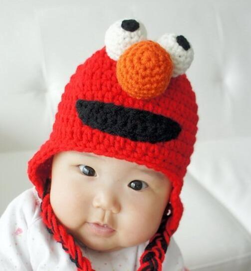 Sesame Street Elmo Baby Girls Boys Cartoon Animal Knitted Hats